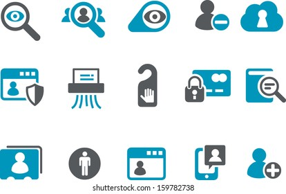 Vector icons pack - Blue Series, privacy collection