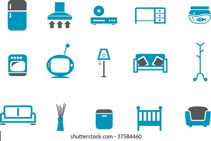 Vector icons pack - Blue Series, furniture collection