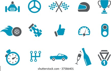 Vector icons pack - Blue Series, racing collection