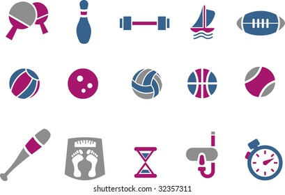 Vector icons pack - Blue-Fuchsia Series, sport collection