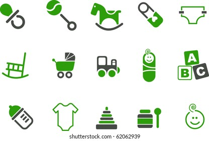 Vector icons pack - Green Series, babies collection
