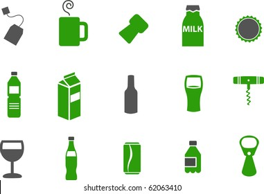 Vector icons pack - Green Series, drinking collection