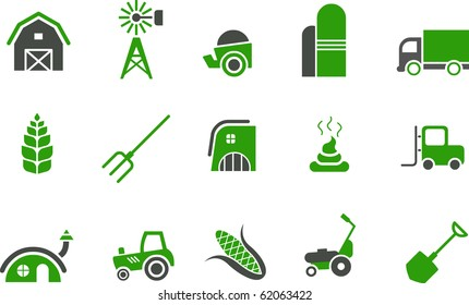 Vector icons pack - Green Series, farm collection