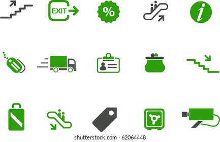 Vector icons pack - Green Series, mall collection