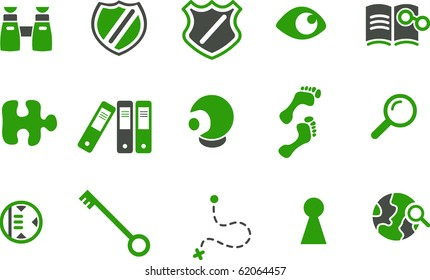 Vector icons pack - Green Series, investigation collection