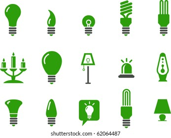 Vector icons pack - Green Series, lamps collection