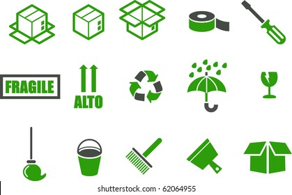 Vector icons pack - Green Series, moving collection