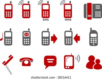 Vector icons pack - Red Series, phones collection