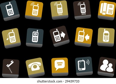 Vector icons pack - Yellow-Brown-Blue Series, phones collection