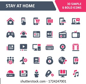 Vector icons related to stay at home order. Various activity during stay at home order are included in this set. Fillio duotone (red) series.