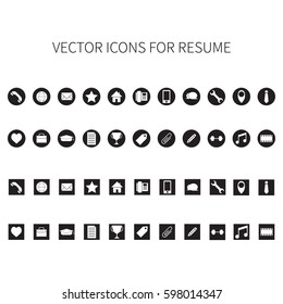 vector icons for resume