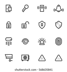 vector icons security and home alarm system, lock, key.