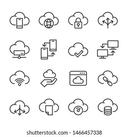 Vector icons set of cloud storage.