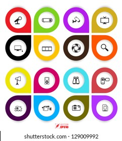 vector icons set color full