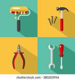 Vector icons set of construction tools: hammer and nails, screwdriver, wrench, pliers, paintbrush or paint roller. Vector flat style illustration with shadow.