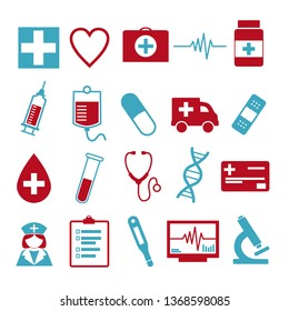 Vector icons set for creating infographics related to medicine and health, like pill, syringe, nurse, ambulance, vial or stethoscope