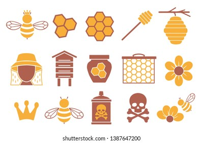 Vector icons set for creating infographics related to bees, pollination and beekeeping like honey jar, flower and honeycomb