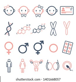 Vector icons set for creating infographics related to gender, transgender and Intersex like DNA, hormone pills, male and female hormones