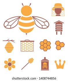 Vector icons set for creating infographics related to bees, pollination and beekeeping like  flower, beekeeper, queen bee crown or honeycomb