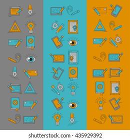 Vector icons set Creative process