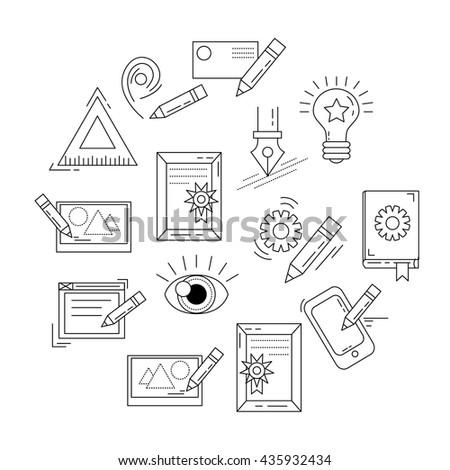 Vector Icons Set Creative Process Stock Vector Royalty Free