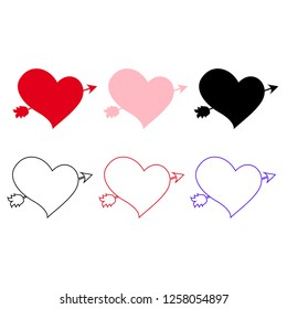 Vector icons set of different hearts pierced with arrow isolated on white background. Elements for wedding or valentine day greeting card design. Lovestruck marriage symbols. Love stickers, clip art.