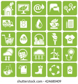 Vector icons set. Ecology, alternative energy sources, science and market.