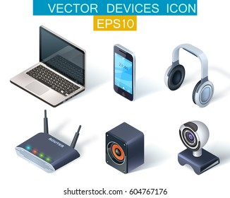 Vector icons set of electronic devices and multimedia gadgets in realistic isometric style isolated  on white