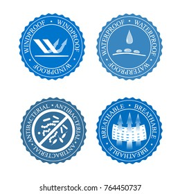 Vector icons set of fabric features. Wind proof, antibacterial, waterproof, and breathable wear labels. Textile industry pictogram for clothes.