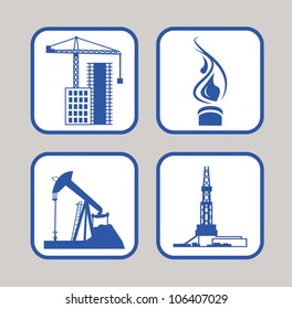 Vector icons set of gas energy, oil rig, oil pump, housing crane