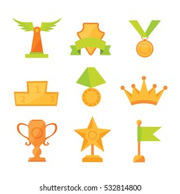 Vector icons set of golden sport award cups in modern flat style