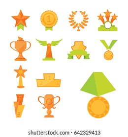 Vector icons set of golden sport award cups in modern flat style.