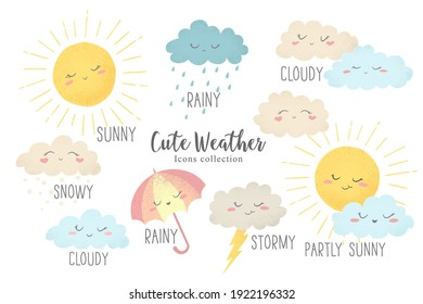 Vector icons set of hand drawn cartoon sun, umbrella, rain, snow, clouds isolated on white background. Cute weather characters illustration in cartoon simple flat style