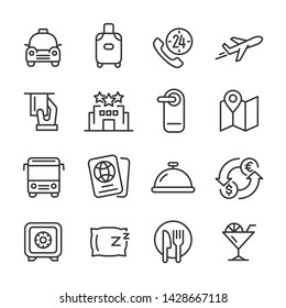 Vector icons set of hotel