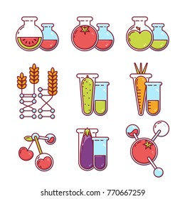 Vector icons set. Illustration of fruits, vegetables with pesticides and chemicals. Unhealthy or gmo food concept. Farming and agriculture modified technologies