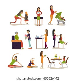Vector icons set of mother cartoon characters isolated on white background. Pregnant women, young mothers with kids and elderly mother with adult son flat style design elements.