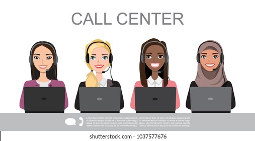 Vector icons set multiracial female call center avatars in a cartoon style with a headset, conceptual of communication