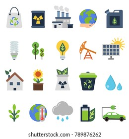 Vector icons set on ecology theme. Green life elements. Green ecology and environment, organic energy illustration