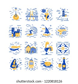Vector icons set of Portugal symbols. Flat and line style design.