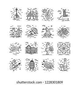Vector icons set of Portugal symbols. Line style design.