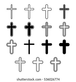 Vector icons set for religion cross on white background