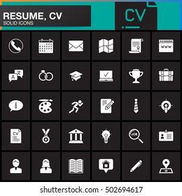 Vector icons set for Resume or CV. Modern solid symbol collection, filled pictogram pack isolated on black, logo illustration
