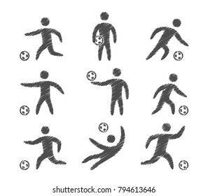Vector icons set of soccer players. Isolated sport symbols.