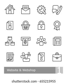 Vector icons set for website and web shop; black bold outlines on white background, scalable