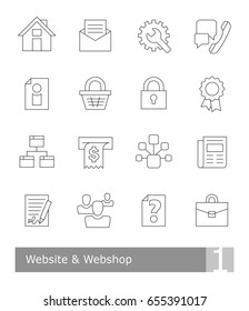 Vector icons set for website and webshop; black thin outlines on white background, scalable