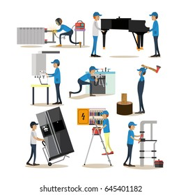 Vector icons set of workers profession people. Woodcutter, electrician, plumber, loader and gasman cartoon characters isolated on white background. Flat style design elements.