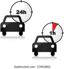 Vector icons showing two options for renting a car: for one or 24 hours