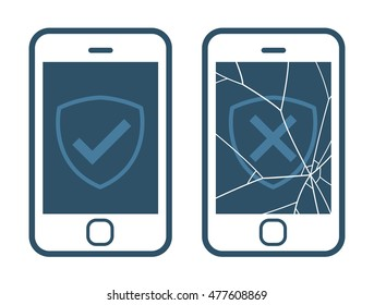 Vector icons of smart phone displaying right and wrong checkmark with broken screen isolated on white representing warranty plan