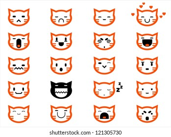 Vector icons of smiley cat faces