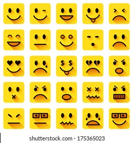 Vector icons of smiling faces with long shadows